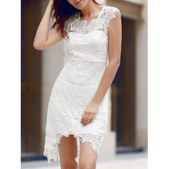 Alluring Sleeveless Scoop Neck Cut Out Women's Lace Dress