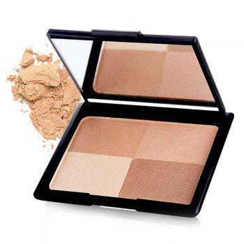 Cosmetic 4 Colours Highlight Bright Shadow Pressed Powder Palette with Mirror - #01