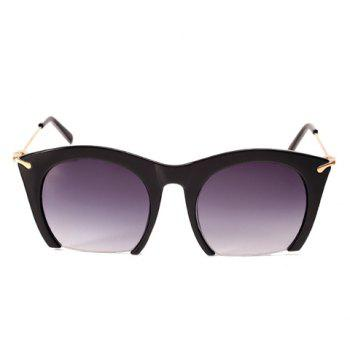 Chic Semi-Rimless Frame Cat Eye Women's Sunglasses - BLACK