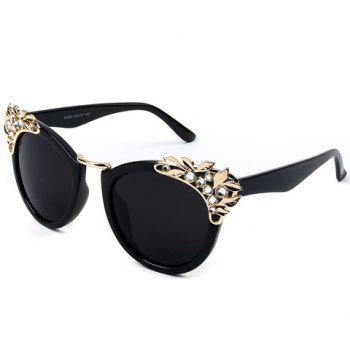Buy Chic Rhinestone Leaf Shape Embellished Women's Black Sunglasses BLACK