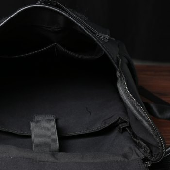 Casual PU Leather and Solid Color Design Backpack For Men -  BLACK