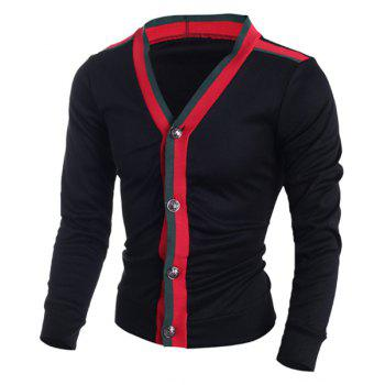 V-Neck Slimming Color Block Stripe Design Long Sleeve Men's Cardigan
