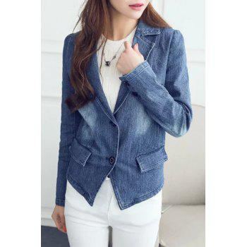 Chic Lapel Long Sleeve Bleach Wash Women's Denim Blazer