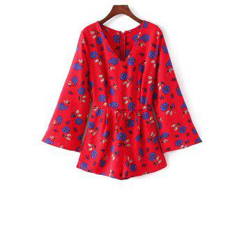 Trendy V-Neck Long Sleeve Floral Print Drawstring Design Women's Playsuit