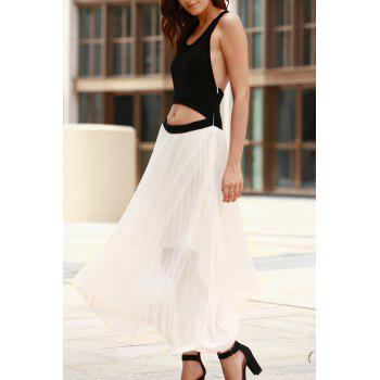 Two Tone Cut Out Pleated Maxi Swing Dress