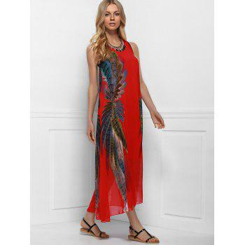 Bohemian Style Red Print Sleeveless Scoop Neck Dress For Women - ONE SIZE(FIT SIZE XS TO M) ONE SIZE(FIT SIZE XS TO M)