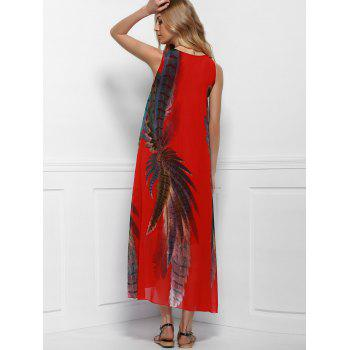 Printed Maxi Boho Swing Dress for Summer - RED RED