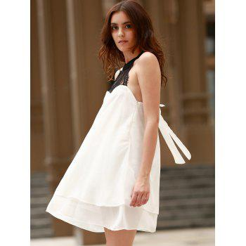 Sexy Stand-Up Collar Sleeveless Lace Spliced Bowknot Design Women's Dress - WHITE XL
