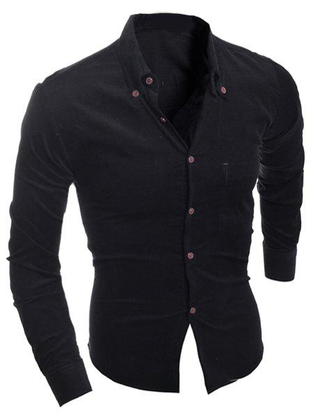 Turn-Down Collar Slimming Long Sleeve Button-Down