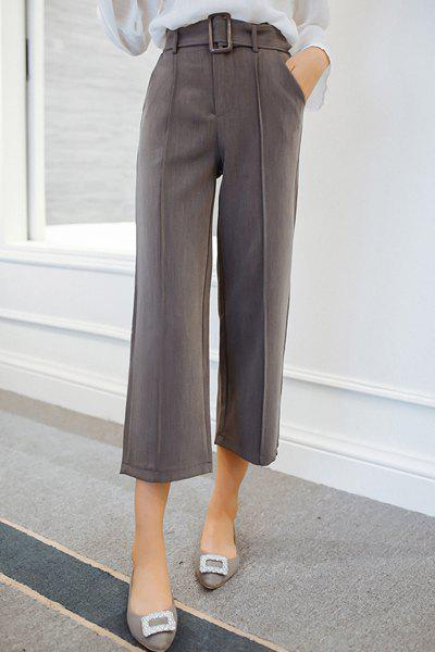 Trendy High-Waisted Loose-Fitting Pure Color Women's Ankle Pants - GRAY M