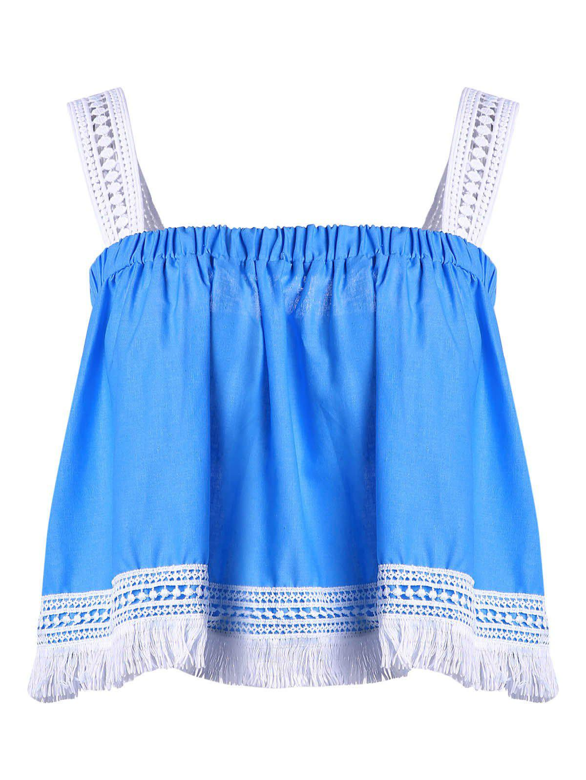 Trendy Spaghetti Strap Lace Tassles Crop Top For Women - BLUE/WHITE S