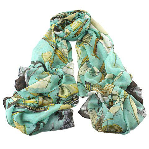 Stylish Plaid Cross Sailing Boat Pattern Voile Scarf For Women - TIFFANY BLUE