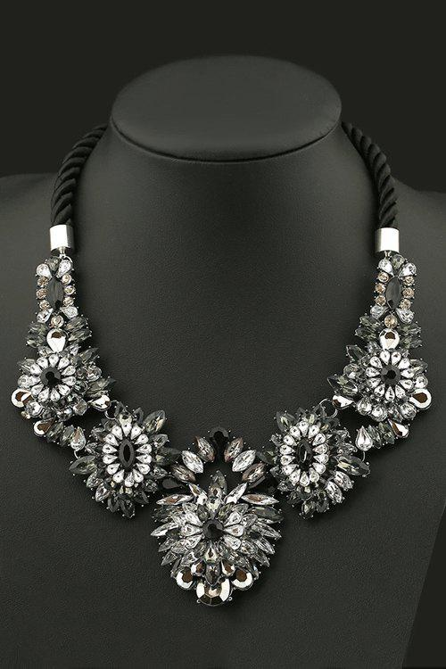 Delicate Floral Faux Crystal Necklace For Women - BLACK