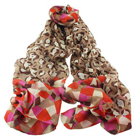 Stylish Geometric and Leopard Pattern Voile Scarf For Women - COFFEE