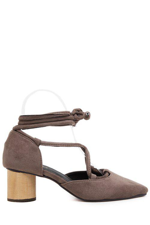 Stylish Criss-Cross and Pointed Toe Design Pumps For Women - KHAKI 39