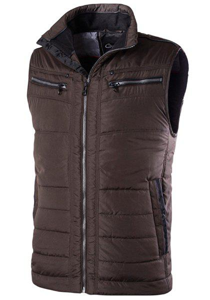 Slim Fit Zipper Stand Collar Solid Color Waistcoat For Men - COFFEE 48