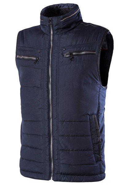 Slim Fit Zipper Stand Collar Solid Color Waistcoat For Men - DEEP BLUE 48