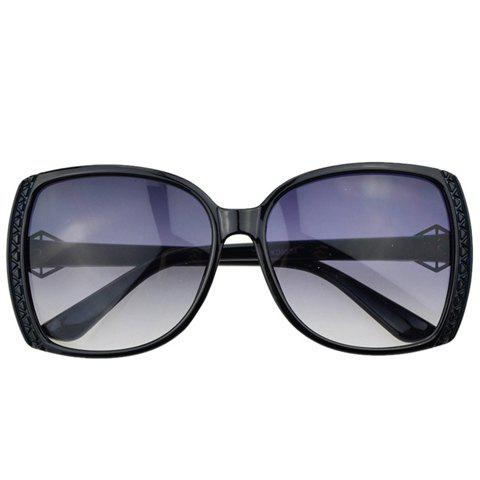 Chic Triangle and Diamond Shape Embellished Sunglasses For Women - BLACK