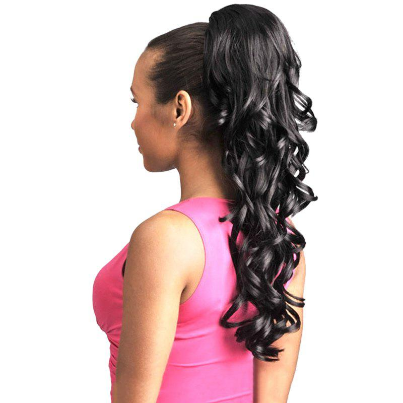 Shaggy Wavy Heat Resistant Synthetic Charming Long Black Ponytail For Women - BLACK
