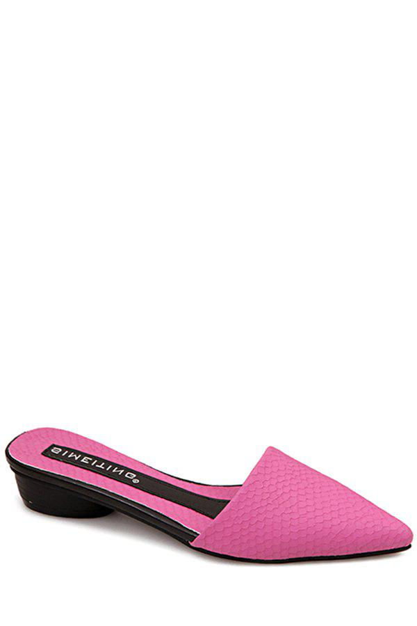 Stylish Embossing and Pointed Toe Design Slippers For Women - ROSE 39