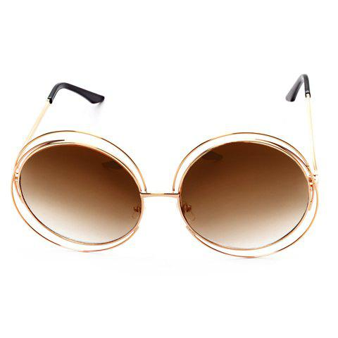 Chic Hollow Out Golden Round Frame Women's Sunglasses - TEA COLORED
