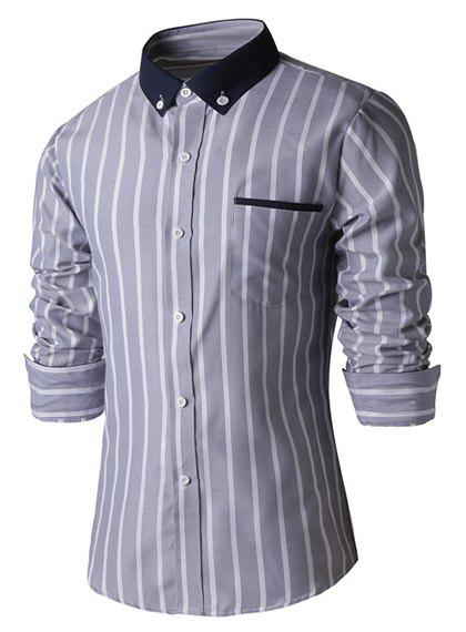 Turn-Down Collar Slimming Long Sleeve Vertical Stripe Button-Down Men's Shirt - GRAY M