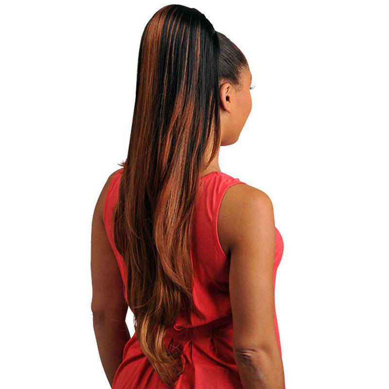 Trendy Black Brown Mixed Synthetic Fluffy Natural Wavy Long Women's Drawstring Ponytail - BLACK/BROWN