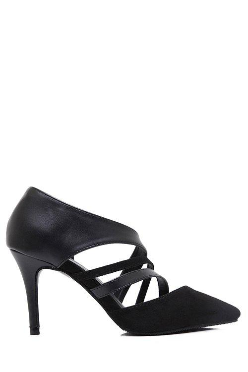 Stylish Straps and Splicing Design Pumps For Women - BLACK 38