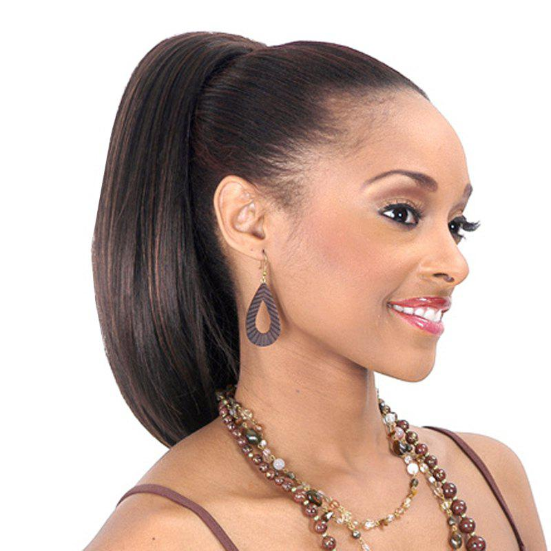 Charming Long Black Mixed Shaggy Natural Straight Synthetic Drawstring Ponytail For Women - COLORMIX