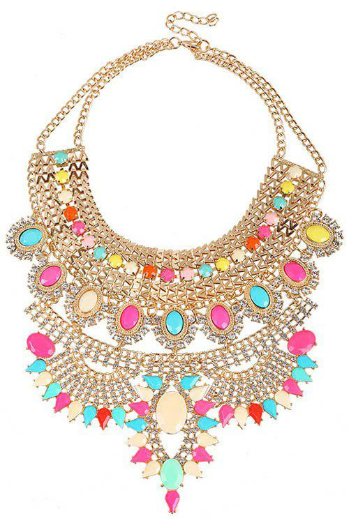 Chunky Faux Crystal Decorated Necklace - COLORMIX