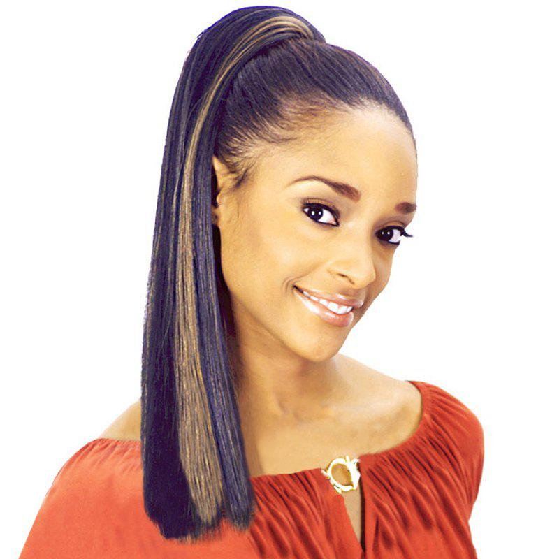 Stunning Silky Straight Synthetic Long Black Brown Mixed Women's Drawstring Ponytail - BLACK/BROWN