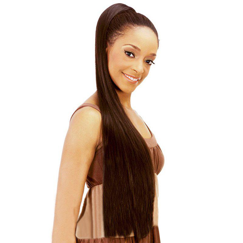 Vogue Silky Straight Synthetic Graceful Extra Long Dark Brown Drawstring Ponytail For Women