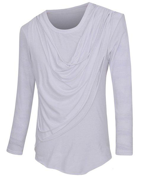 Slim Fit Rag Design Solid Color Pullover Round Collar Long Sleeves T-Shirt For Men - M WHITE