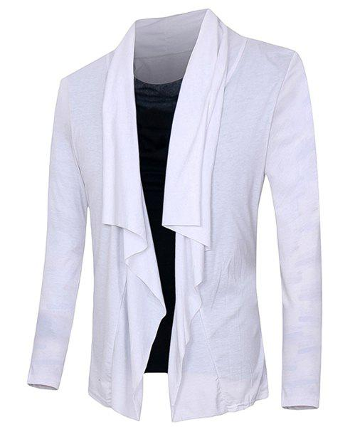 Slim Fit Pullover Faux Twinset Color Block Long Sleeves T-Shirt For Men - WHITE M