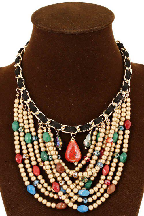 Stylish Multi-Layered Bead Necklace For Women - COLORMIX