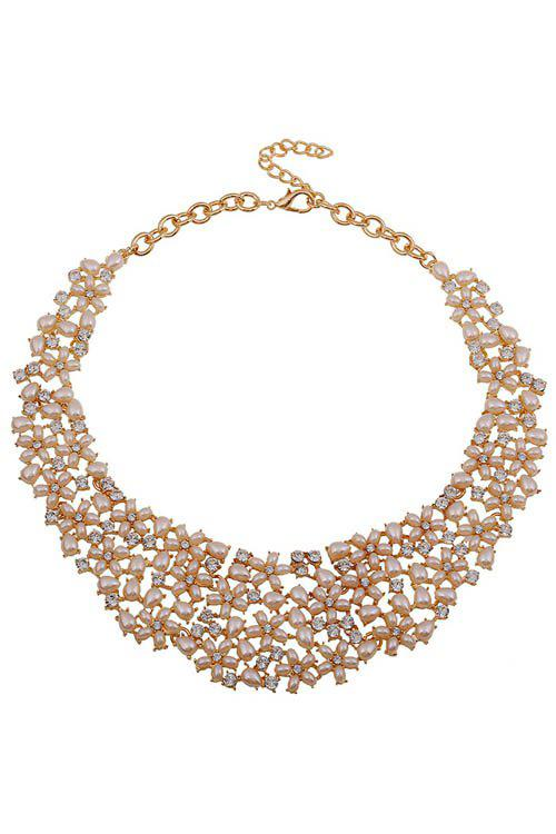 Sweet Faux Pearl Rhinestone Floral Necklace For Women - WHITE