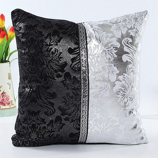 High Quality Black and White Patchwork Square Shape Imitation Leather Pillow Case(Without Pillow Inner) - WHITE/BLACK