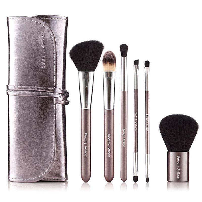 Cosmetic 6 Pcs Fiber Makeup Brushes Set with Binding PU Brush Bag - SILVER GRAY