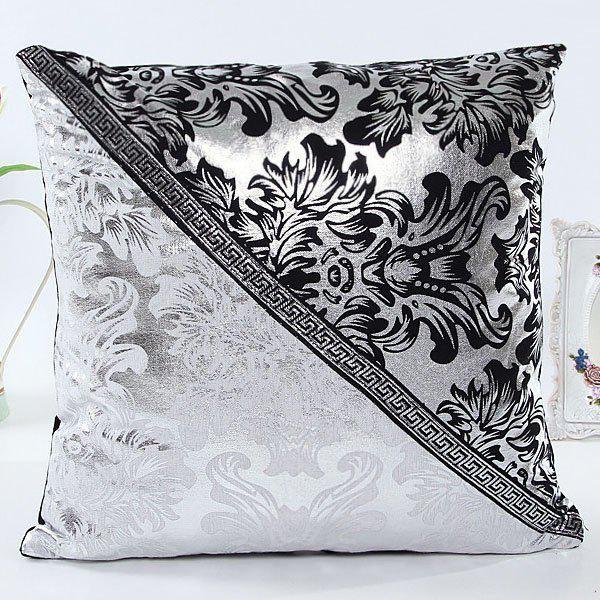 High Quality Triangle Patchwork Square Shape Imitation Leather Pillow Case(Without Pillow Inner) - WHITE/BLACK