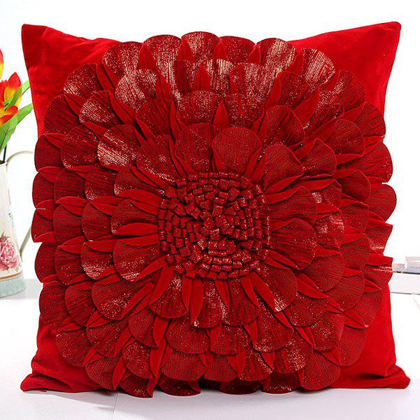 High Quality Solid Color Flower Design Square Shape Pillow Case(Without Pillow Inner) - RED
