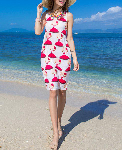 Cute Women's U-Neck Girls Print Summer Dress - RED/WHITE M