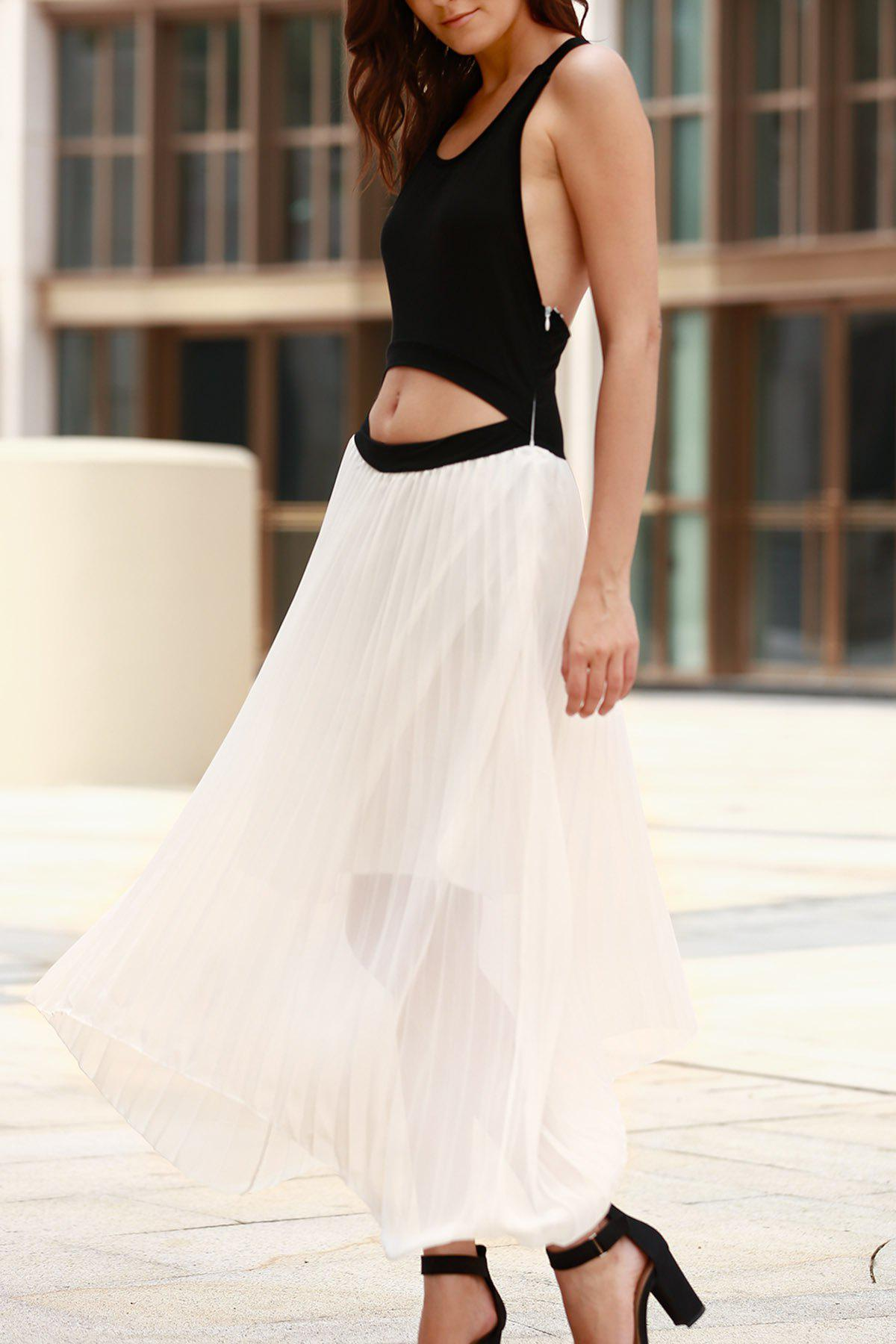 Fashionable Jewel Neck Color Block Splicing Backless Sleeveless Dress For Women - WHITE/BLACK S