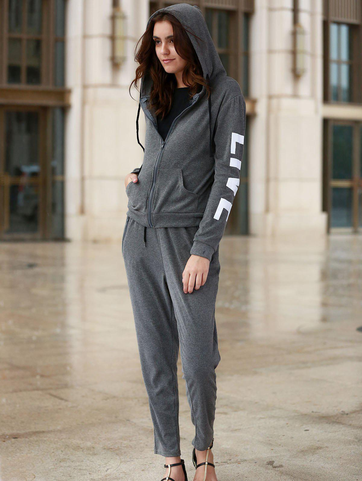 Chic Long Sleeve Hooded Letter Print Hoodie + Pants Women's Twinset - DEEP GRAY L