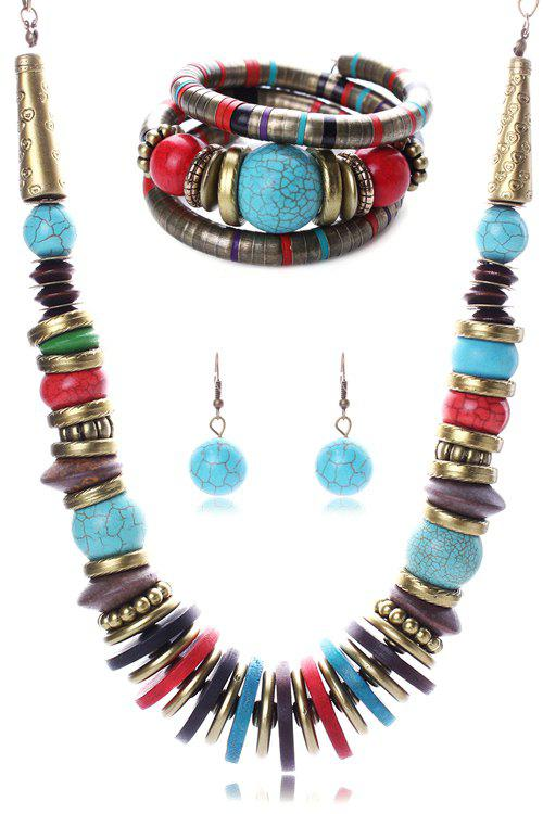 A Suit of Retro Ethnic Style Turquoise Necklace Bracelet and Earrings For Women