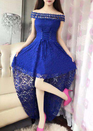 Elegant Women's Slash Neck Lace Dovetail Dress - BLUE M