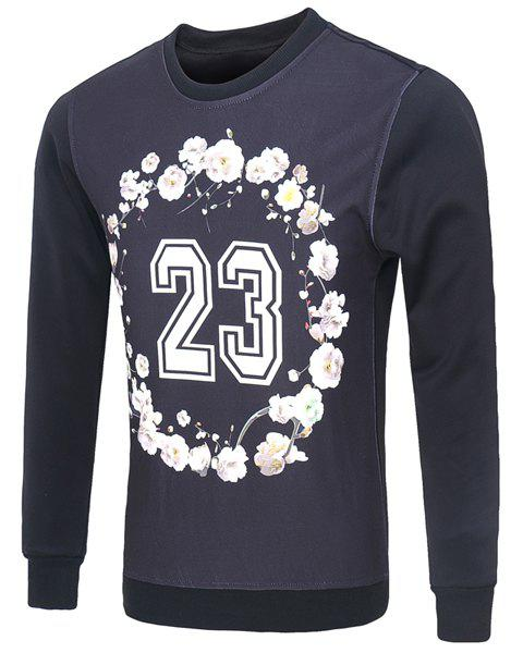 Casual Round Collar Pullover Flower Number Printed Sweatshirt For Men - COLORMIX M