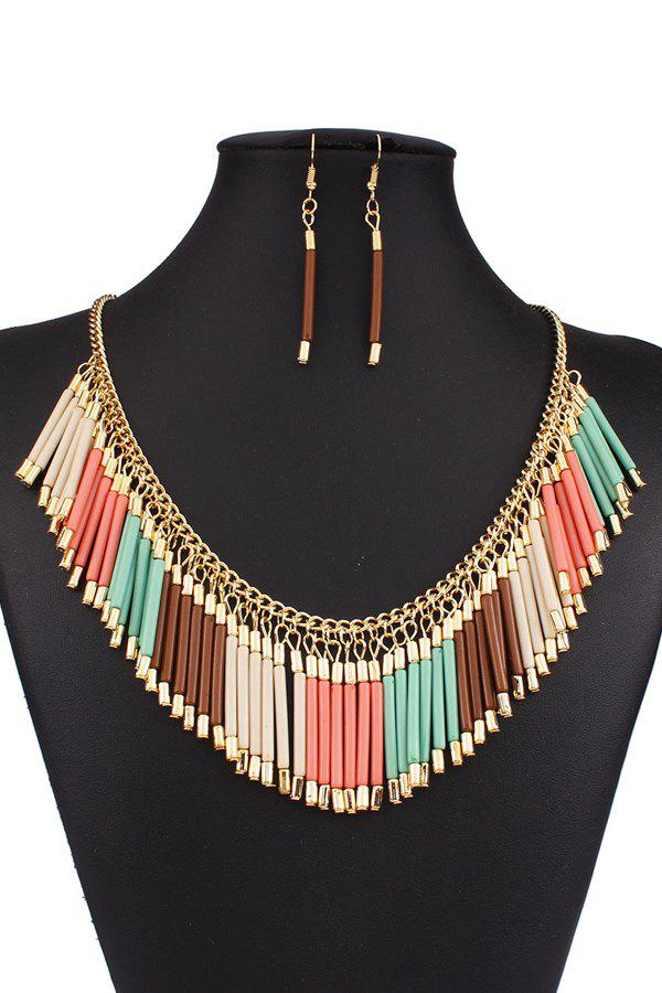 A Suit of Bohemia Alloy Tassel Necklace and Earrings - COLORMIX