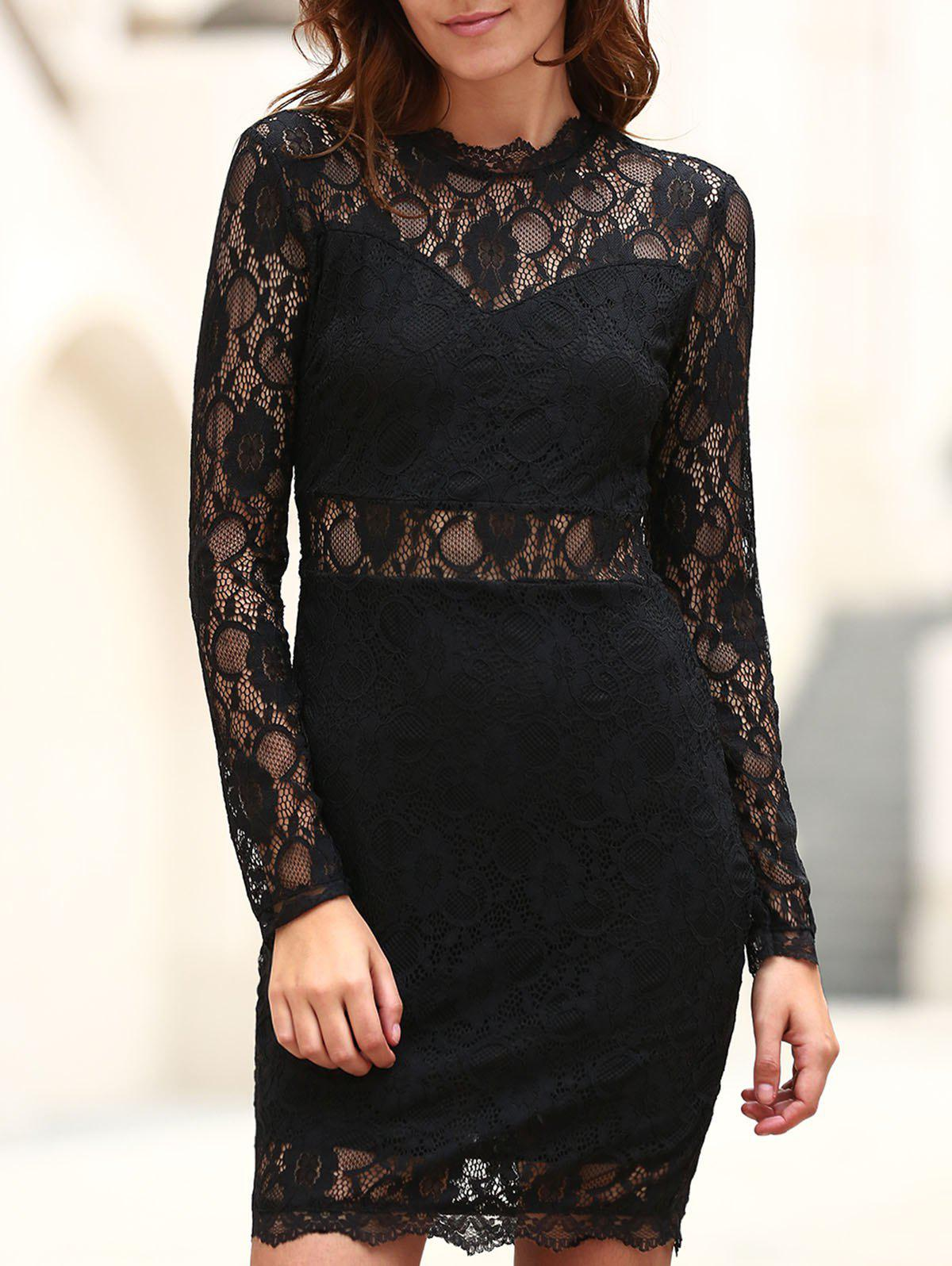 Sexy Long Sleeve Stand Collar Solid Color Women's Lace Dress