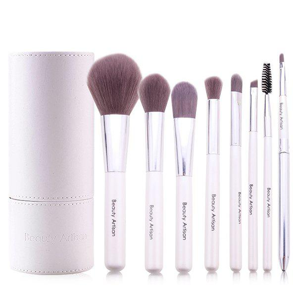 Cosmetic 8 Pcs Soft Bamboo Fiber Makeup Brushes Set with PU Brush Holder new style re 2000b automatic lift up lab scale mini vacuum rotary evaporator with speed