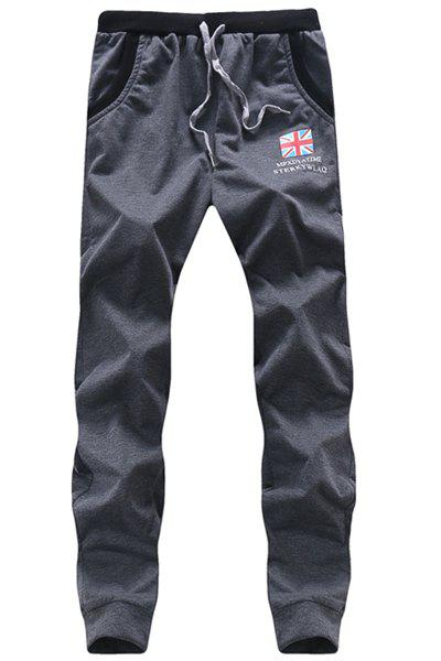 Flag Printed Lace Up Long Sports Pants For Men - DEEP GRAY 2XL